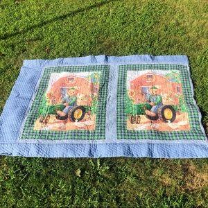 John Deere Quilted Blanket Farm Tractor Bear